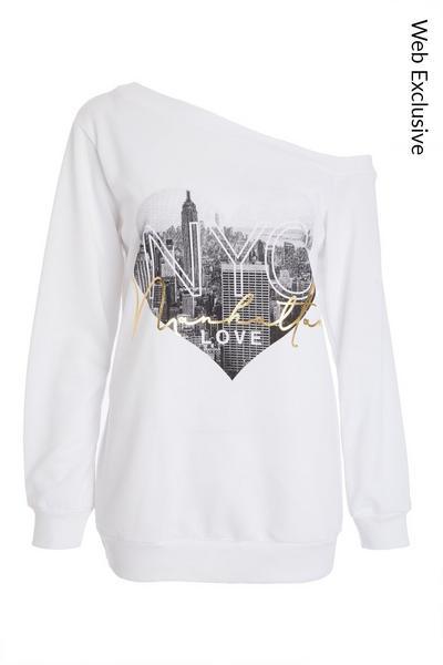 White Slogan Bardot Sweatshirt
